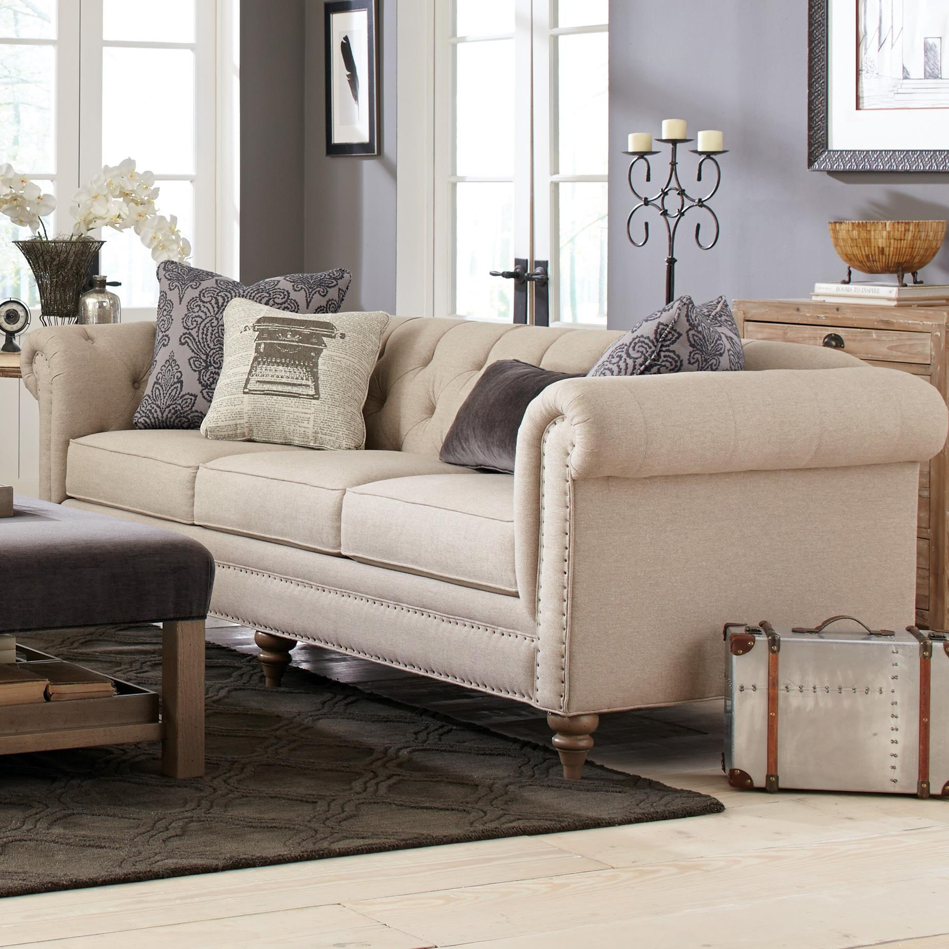 craftmaster emma large sofa with vintage tack nailheads - Large Sofas