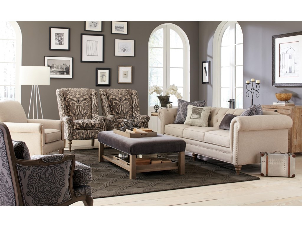 Craftmaster 7431-7432Large Sofa w/ Tack Nailheads