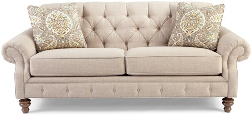 Craftmaster 7463 Traditional Button-Tufted Sofa with Wide Flared ...