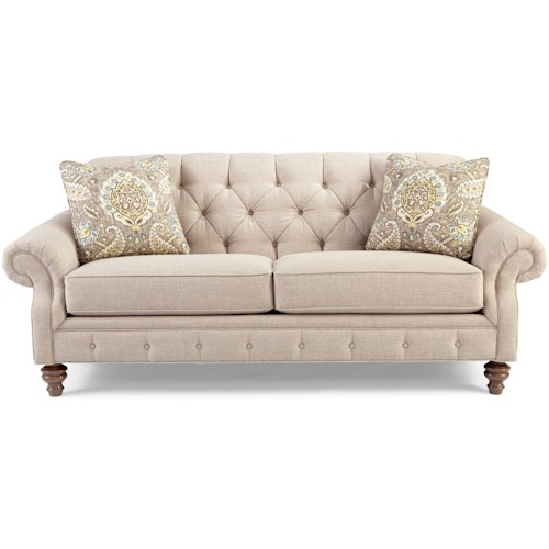 Craftmaster 7463 Traditional Button-Tufted Sofa with Wide Flared Arms