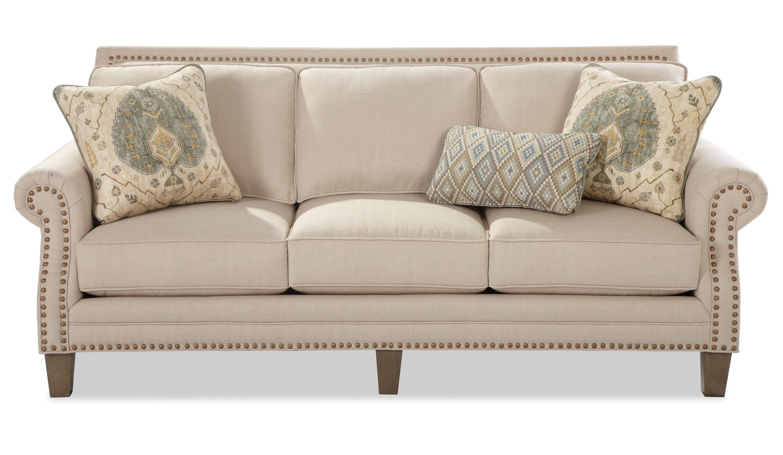Amazing Craftmaster Nichols Transitional Sofa With Brass Nailheads