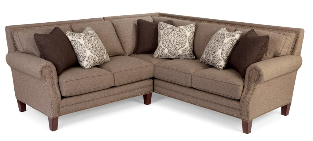 Craftmaster nichols two piece sectional sofa with rolled arms and light brass nailheads