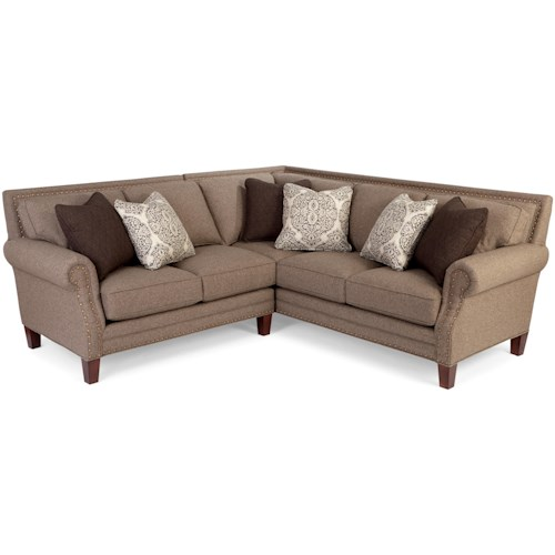 Craftmaster 747 Two Piece Sectional Sofa with Rolled Arms and Light Brass Nailheads
