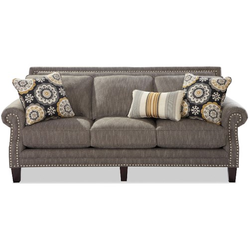 Craftmaster 747 Transitional Sofa with Pewter Nailheads