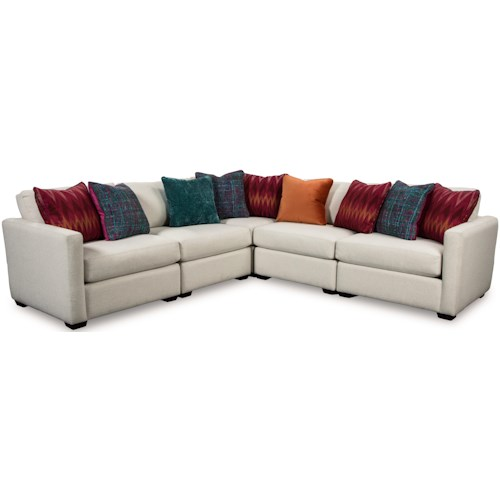 Craftmaster 751100 Five Piece Corner Sectional Sofa with Toss Pillows