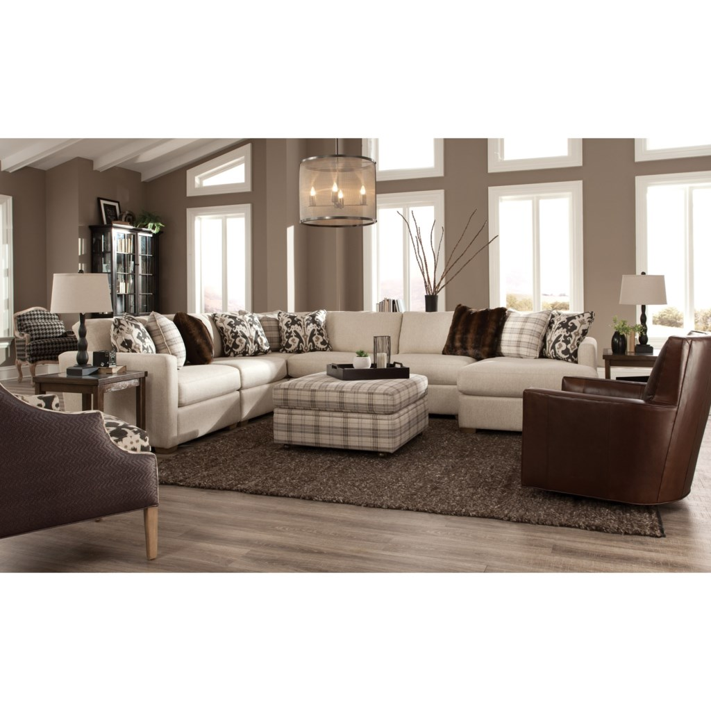 Craftmaster 751100 Five Piece Sectional With Raf Chaise Hudson S