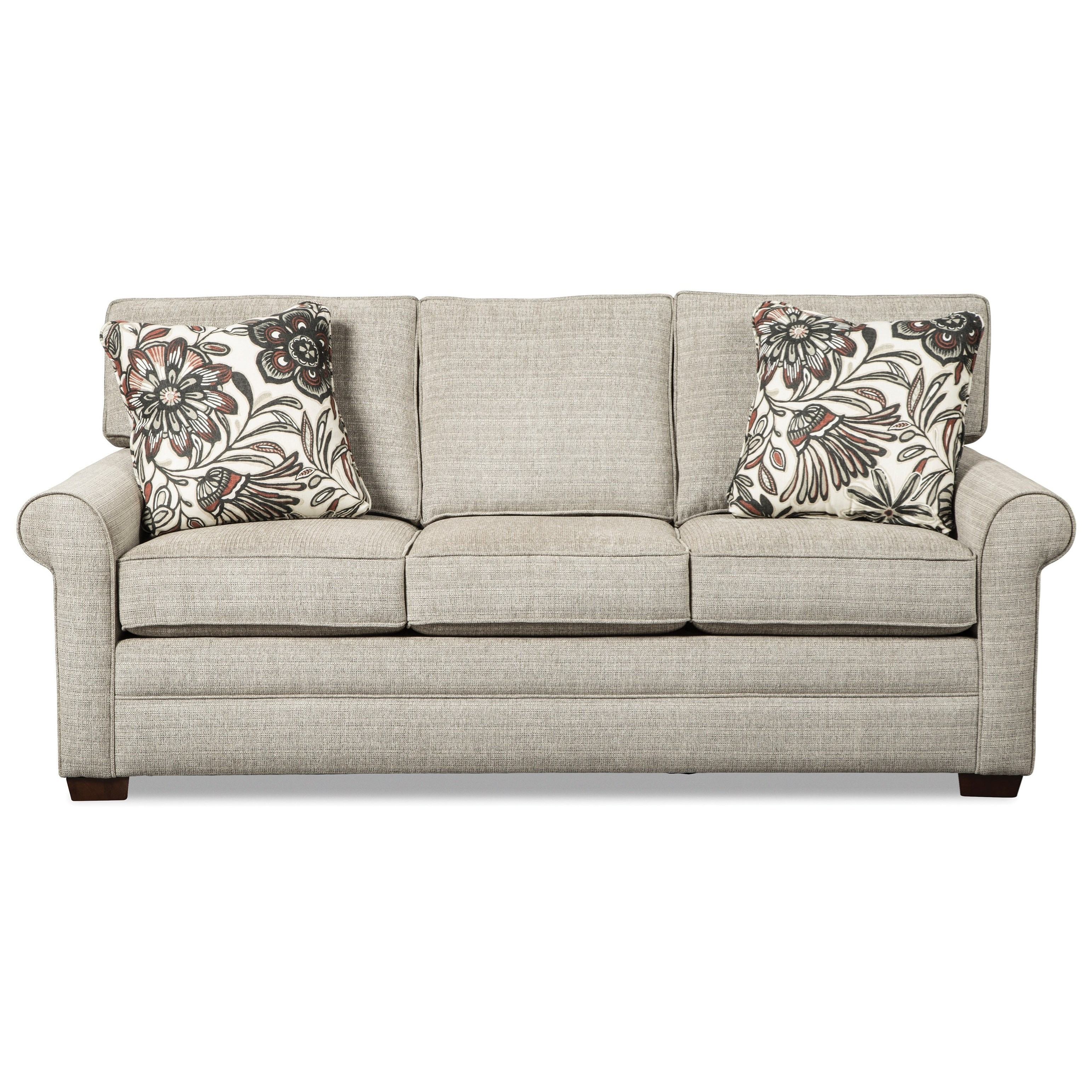 Transitional Sofa with Rolled Arms and Loose Back Cushions
