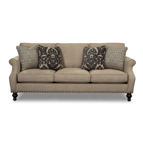 Cozy Life 753200 - 753300 Traditional Sofa with Light Brass Nails and Turned Wood Feet