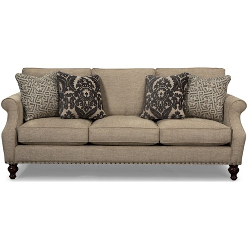 Craftmaster 753200 - 753300 Traditional Sofa with Light Brass Nails and Turned Wood Feet