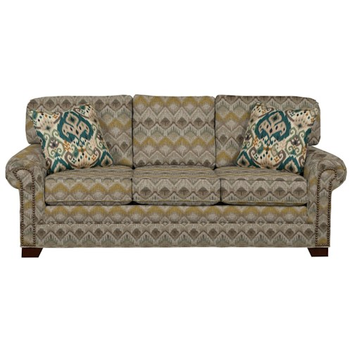 Cozy Life 7565 Transitional Sleeper Sofa with Large Rolled Arms and Brass Nailheads