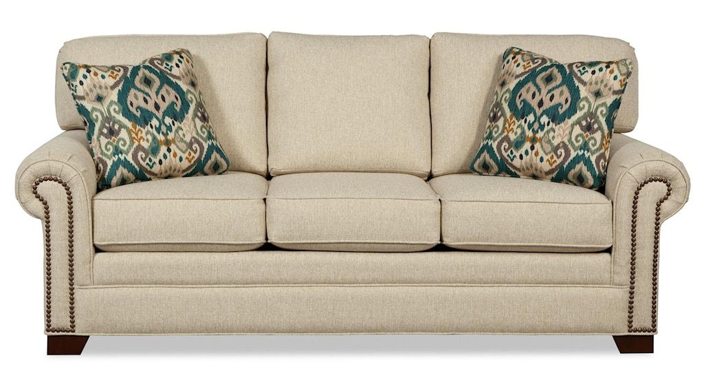 Craftmaster 7565 756550 98 Transitional Sleeper Sofa With Brass  ~ Sofa Sleepers With Memory Foam Mattress