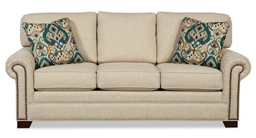 Craftmaster 7565 Transitional Sleeper Sofa with Brass Nailheads