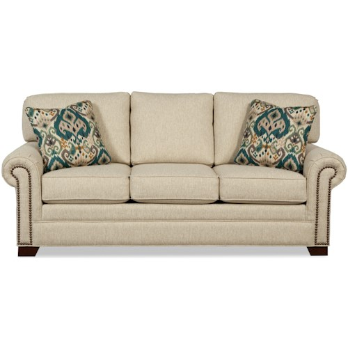 Craftmaster 7565 Transitional Sleeper Sofa with Large Rolled Arms and Brass Nailheads