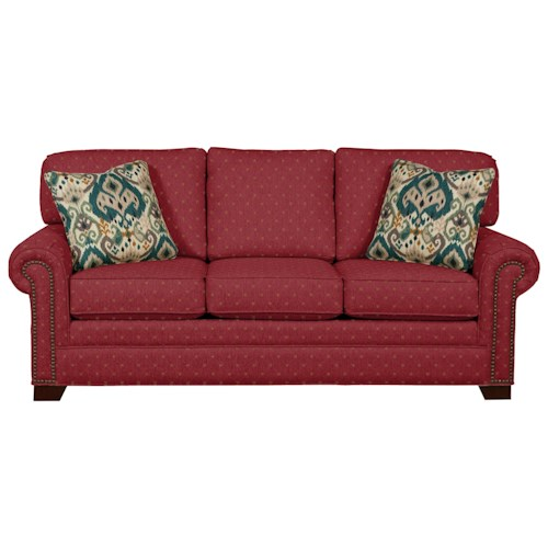 Cozy Life 7565 Transitional Sofa with Large Rolled Arms and Brass Nailheads