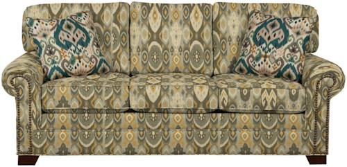 Craftmaster 7565 Transitional Sofa with Large Rolled Arms and Brass Nailheads
