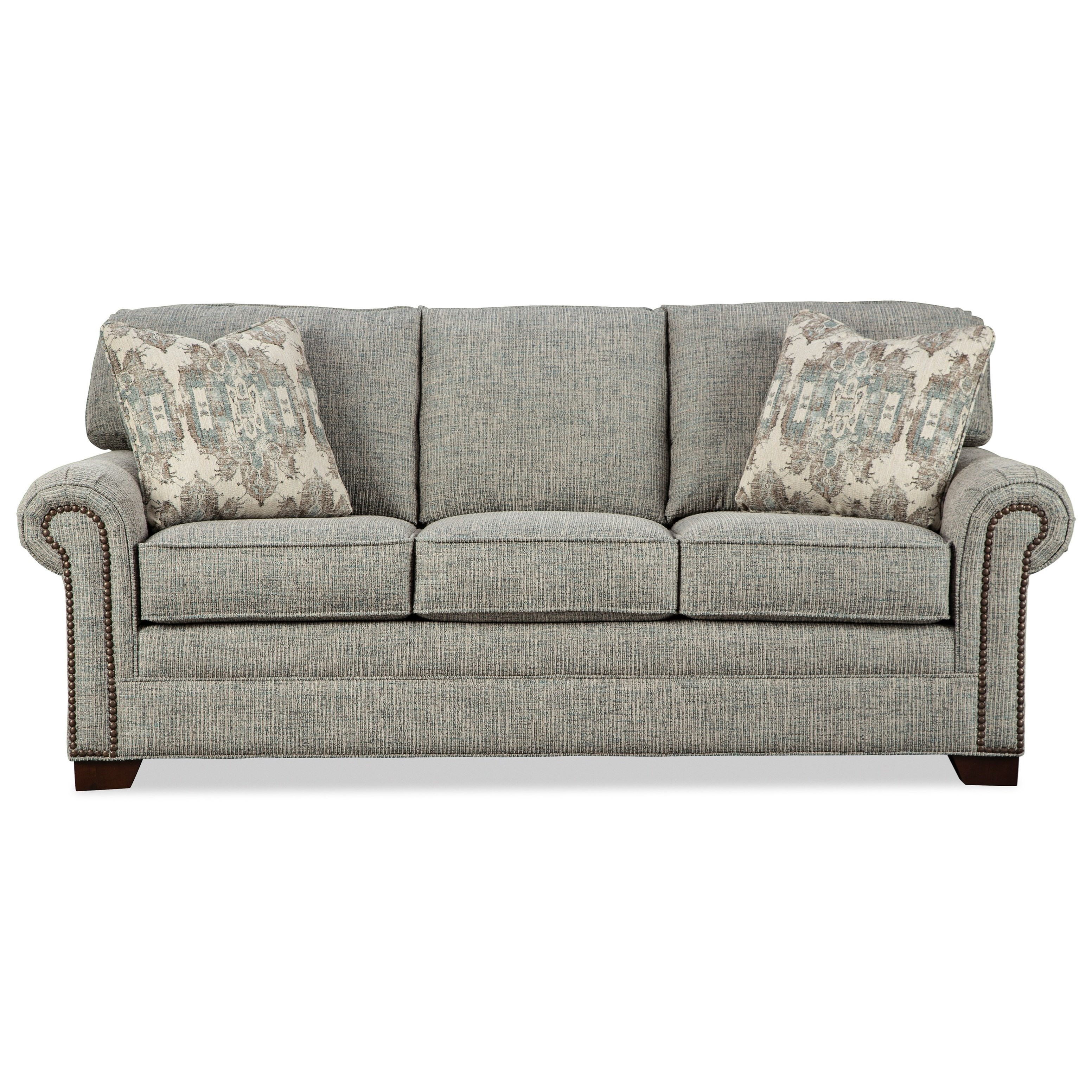 Transitional Sleeper Sofa with Large Rolled Arms and Brass Nailheads