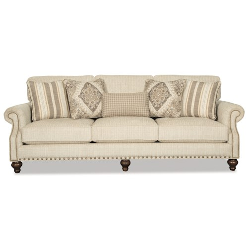 Craftmaster Betsy Traditional Sofa with Two Sizes of Brass Nailheads