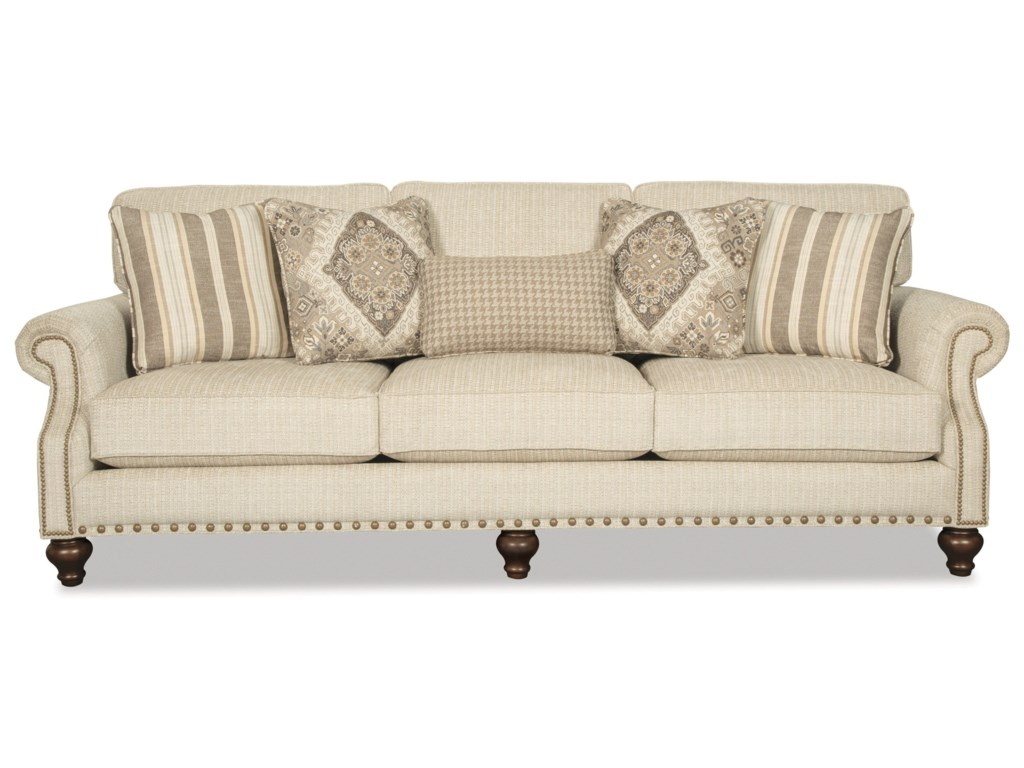 Hickory Craft 7623Sofa w/ 2 Sizes Brass Nails