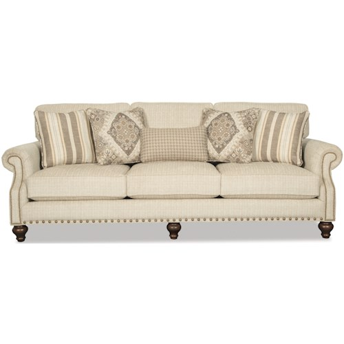 Craftmaster 7623 Traditional Sofa with Two Sizes of Brass Nailheads