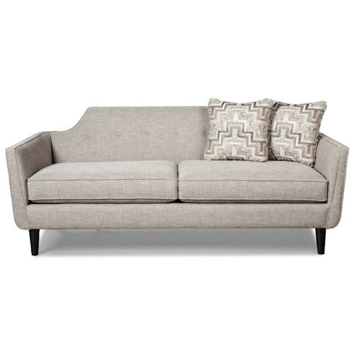 Craftmaster 765100 Mid Century Modern Sofa with Cut Away Back Design