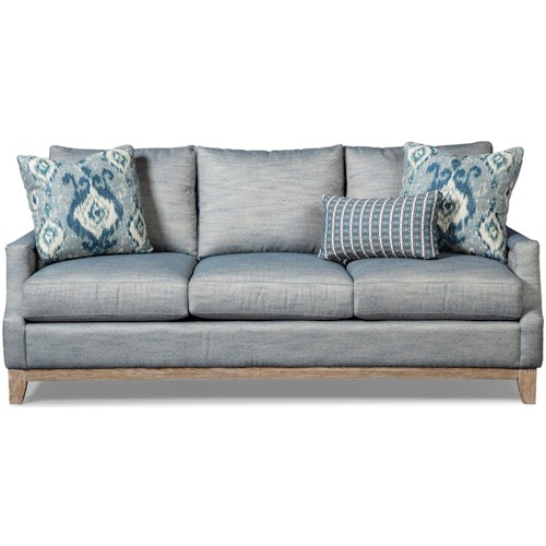 Craftmaster 765700-766000 Vintage Sofa with Weathered Oak Rail and Pewter Nails