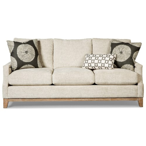 Craftmaster 765700-766000 Vintage Sofa with Weathered Oak Rail and Brass Nails