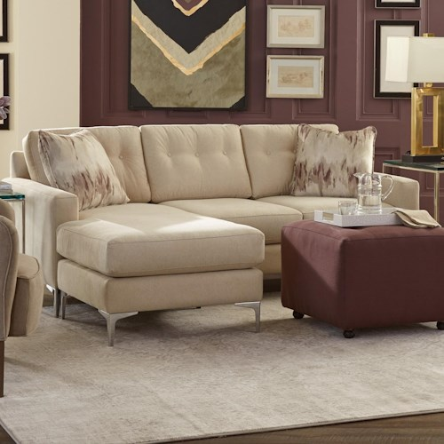 Craftmaster 7661 Modern Tufted Sofa with Chaise and Metal Legs