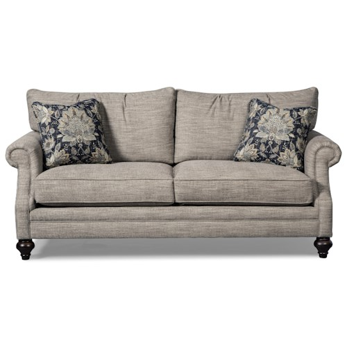 Craftmaster 766900 Rolled Arm Sofa with Traditional Turned Legs
