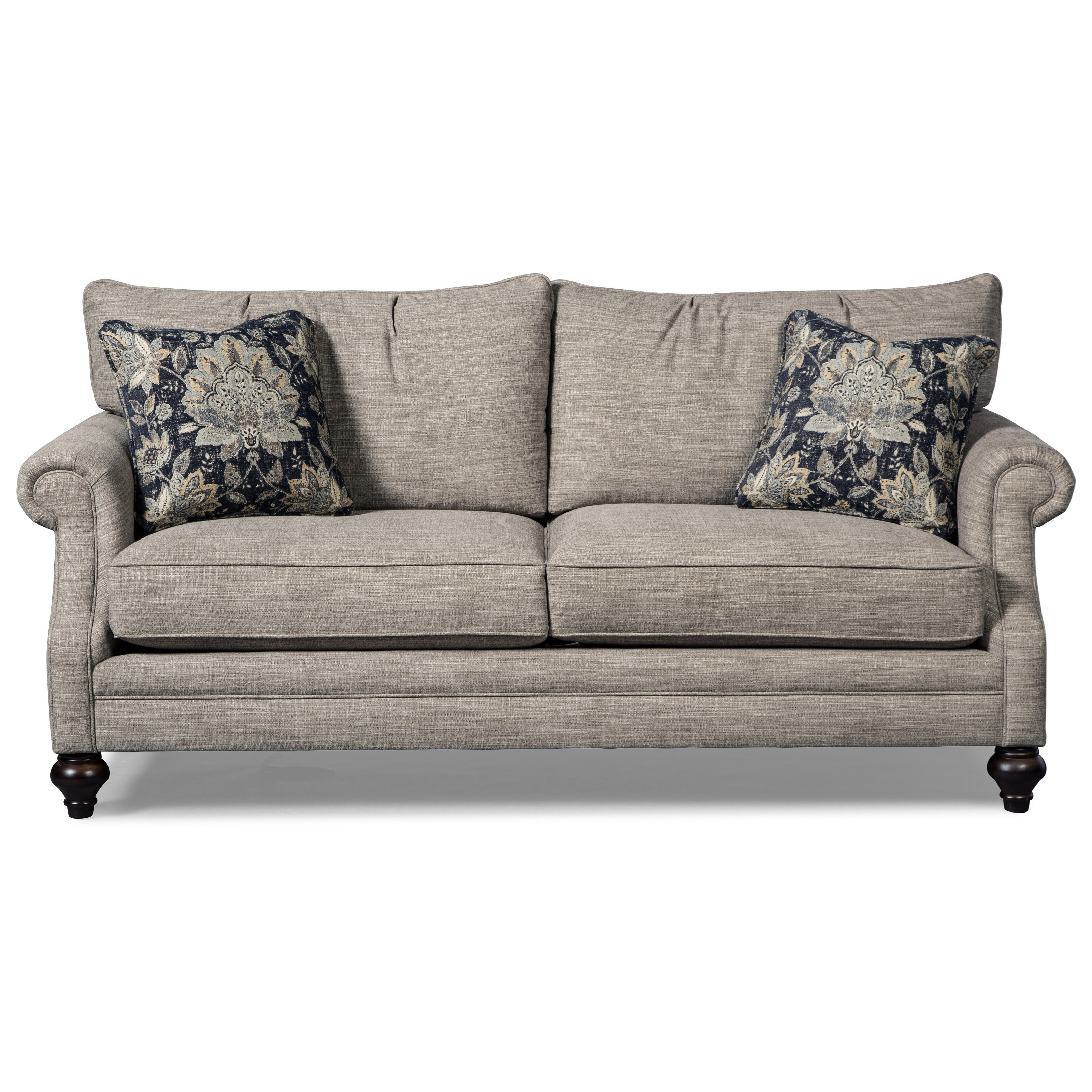 Craftmaster 7669 Rolled Arm Sofa With Traditional Turned Legs