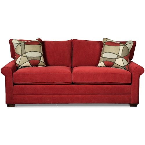 Craftmaster 7678 Casual Sofa with Rolled Arms and Toss Pillows