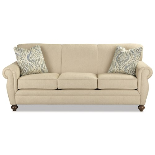 Craftmaster 767900 Traditional Sofa with Rolled Arms and Rolled Back