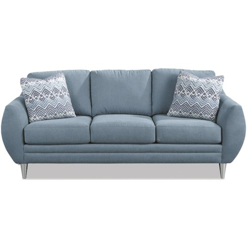 Craftmaster 768100-768200 Modern Sofa with Bowed Arms and Built-In USB Port