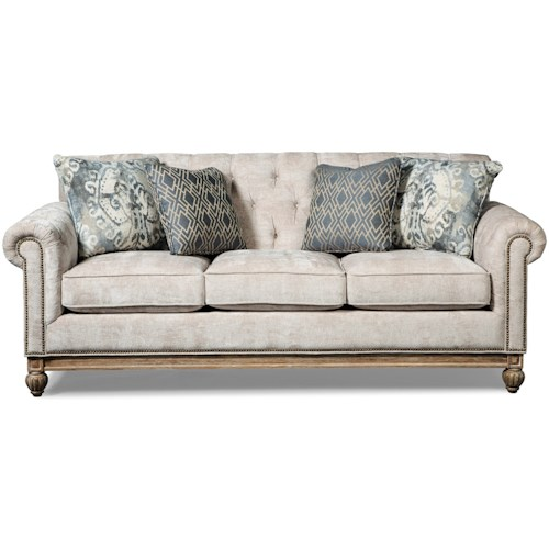 Craftmaster 7688-7689 Button Tufted Sofa with Distressed Wood Base and Pewter Nails