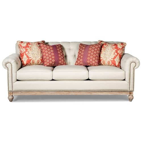 Craftmaster 7688-7689 Button Tufted Sofa with Distressed Wood Base and Light Brass Nails