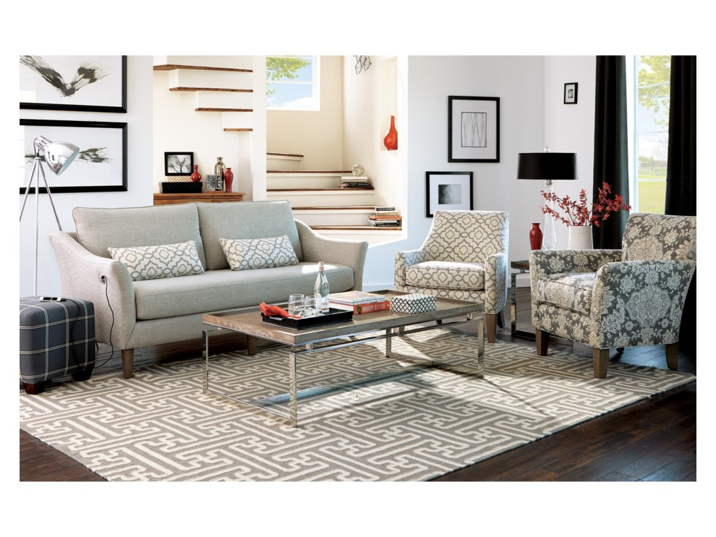Craftmaster 7691-7692Sofa w/ Bench Seat & USB