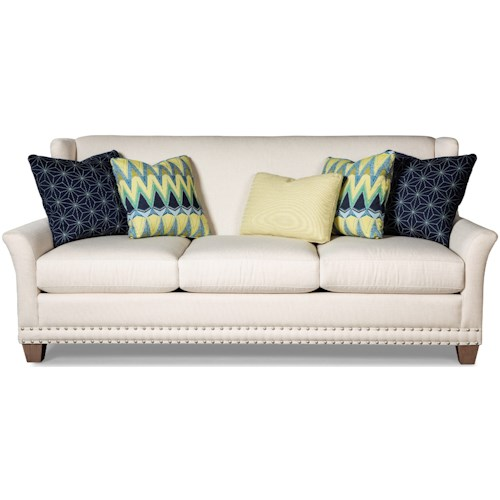 Craftmaster 7698 Transitional Wing Back Sofa with Pewter Nailheads
