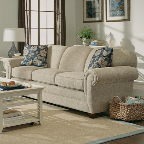 Craftmaster 7705 Sofa with Rolled Arms and Exposed Wood Feet