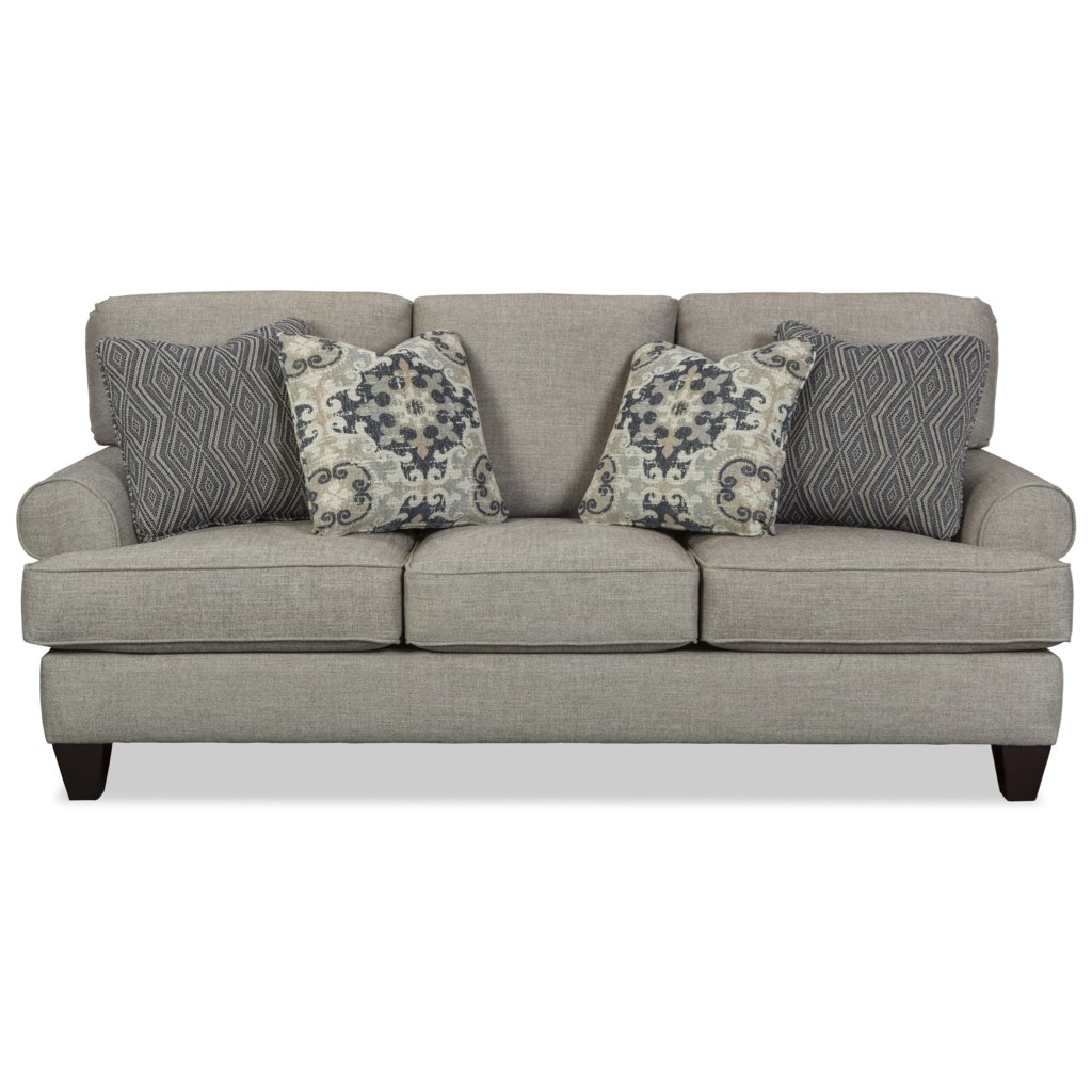 Craftmaster 771350 Queen Memory Foam Sleeper Sofa With Rolled Arms