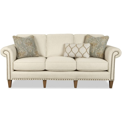 Craftmaster 772850-772950 Traditional Sofa with Two Sizes of Nailheads