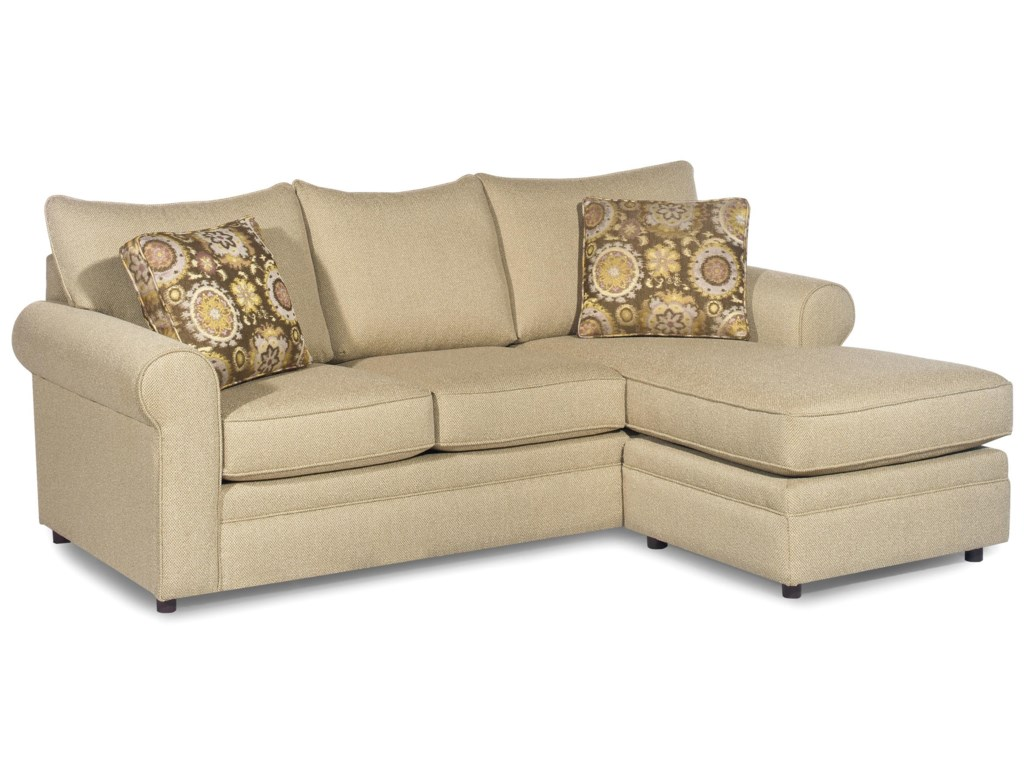 Craftmaster 7748 casual sofa with chaise and sock arms