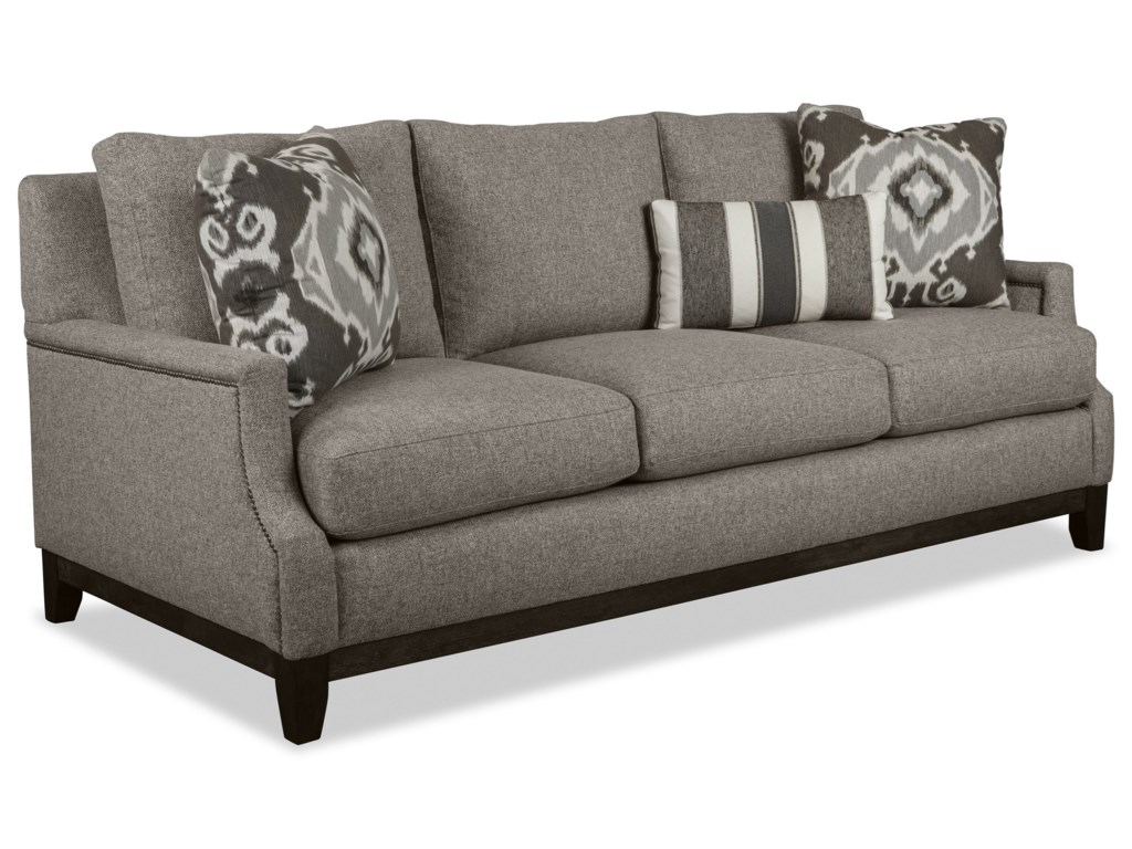 Craftmaster 775750 775850 775950 77650 transitional sofa with scooped arms and brass nails