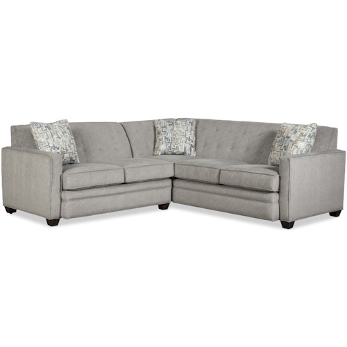 Craftmaster 777150 Contemporary Two Piece Tufted Sectional Sofa with RAF Return Sofa