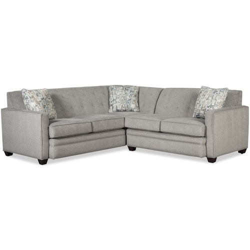 Craftmaster 777150 Contemporary Two Piece Tufted Sectional Sofa with LAF Return Sofa