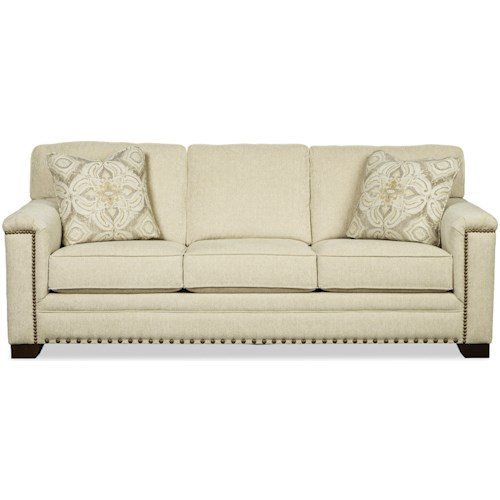 Craftmaster 781950 Transitional Queen Sleeper Sofa with Medium and Large Nailheads