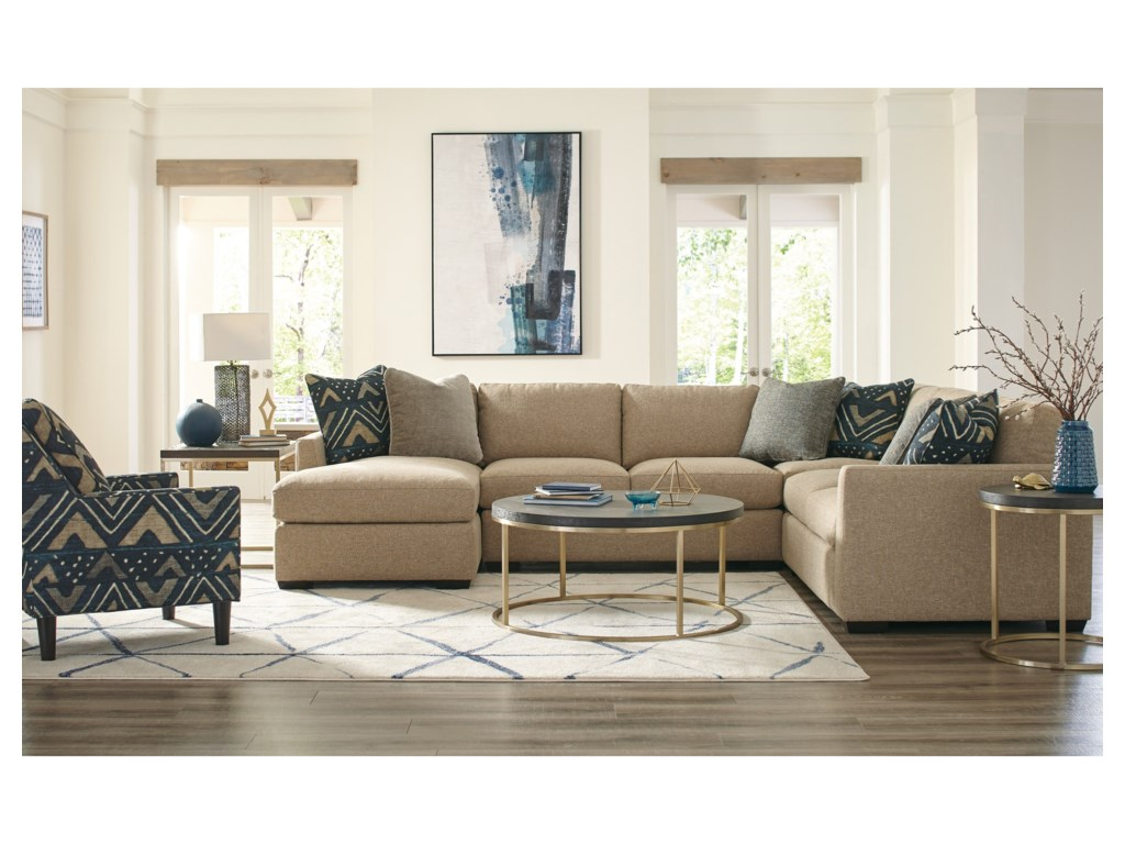 Craftmaster 7839505-Seat Sectional Sofa with LAF Chaise
