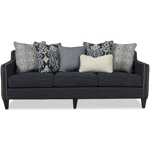 Craftmaster 785150 Transitional Sofa with Nailhead Border and Six Toss Pillows