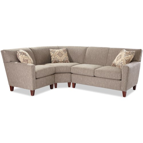 Craftmaster 7864 Three Piece Sectional Sofa with RAF Loveseat