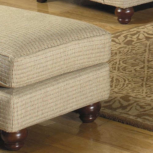 Craftmaster 7970 Box Top Ottoman with Exposed Wood Bun Feet