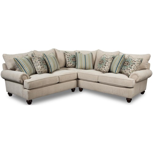 Craftmaster 7970 Two Piece Sectional Sofa with Turned Wood Feet