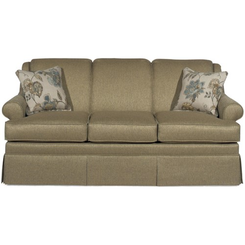Craftmaster 9205 Traditional Stationary Sofa with Rolled Arms and Skirt
